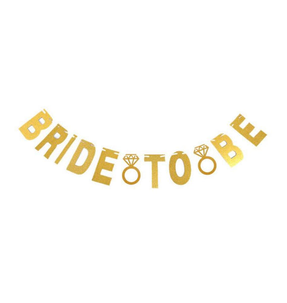 Bride to Be Gold Glittered Banner