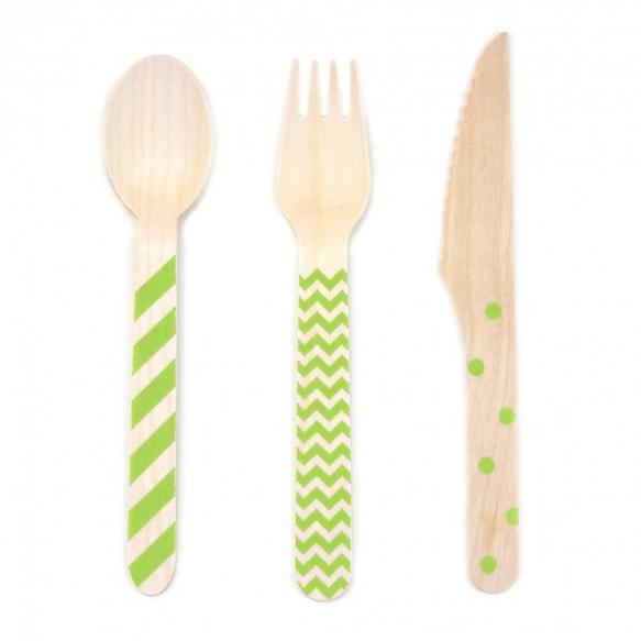 Stamped Wooden Cutlery in Lime Green