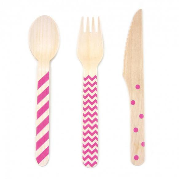 Stamped Wooden Cutlery Set in Hot Pink