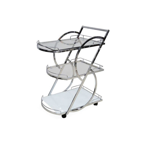 SIENA Chrome / White Glass Bar Cart by Casabianca Home