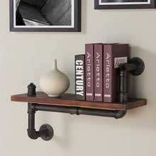 "Load image into Gallery viewer, 24"" Montana Industrial Pine Wood Floating Wall Shelf in Gray and Walnut Finish"