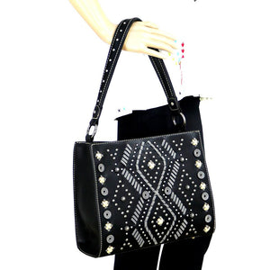 Diamond Tribal Pattern Whip Stitch Studded Concealed Carry Hobo Purse MW767G-121 - carriesherself.com