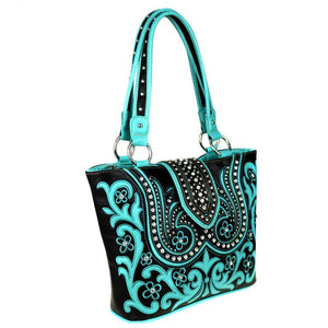 Montana West Floral Boot Scroll Concealed Carry Tote Bag MW514G-8317 - carriesherself.com