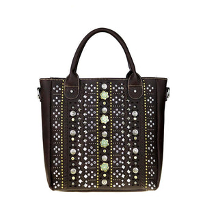 Montana West Multi-Rivet Studded Concealed Carry Crossbody Tote Bag MW522G-8263 - carriesherself.com