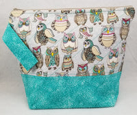 Teal Owls - Project Bag - Medium - Crafting My Chaos