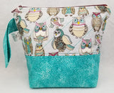 Teal Owls - Project Bag - Small - Crafting My Chaos
