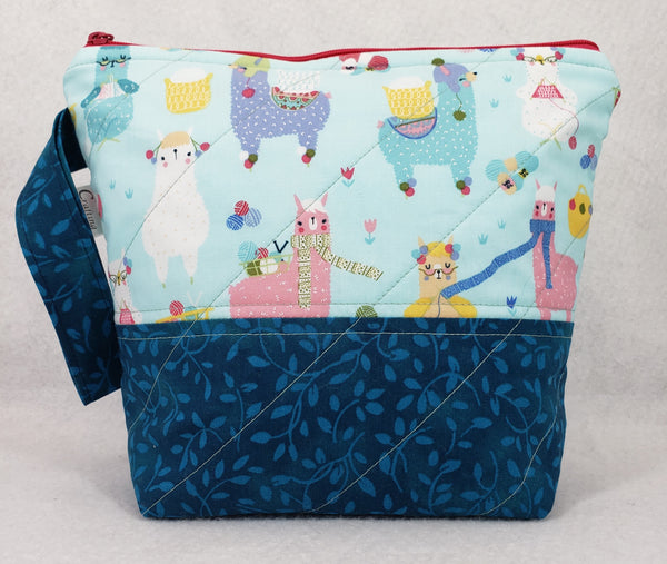 Alpacas Knitting Blue - Project Bag - Small - Crafting My Chaos