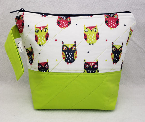 Owls (Flour Green) - Project Bag - Small - Crafting My Chaos