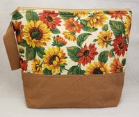 Sunflowers Tan - Project Bag - Medium - Crafting My Chaos