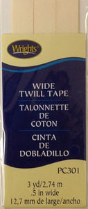 "1/2"" Wide Twill Tape, 23.75m long, 100% Polyester Oyster 028"
