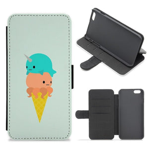 Narwhal Octopus Ice Cream Flip / Wallet Phone Case - Fun Cases