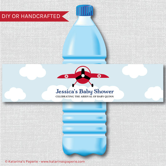 Vintage Airplane Baby Shower Water Bottle Labels