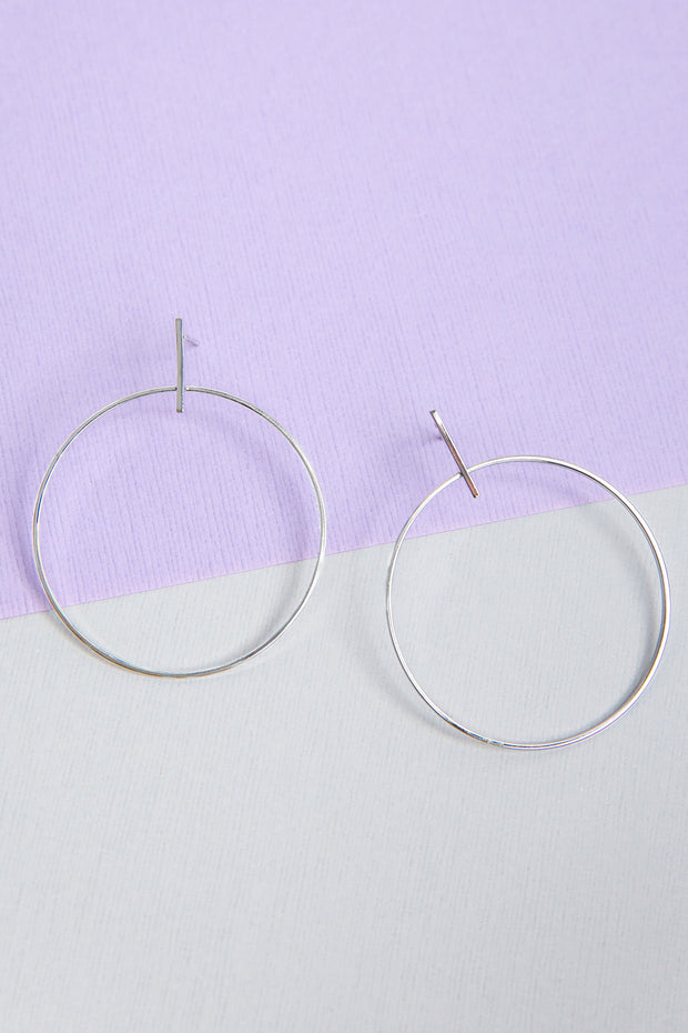 Orb White Gold Plated Earrings