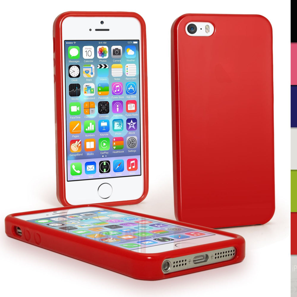 iGadgitz Red Glossy Durable Crystal Gel Skin Case Cover for Apple iPhone SE, 5S & 5 + Screen Protector (Not for 5c)