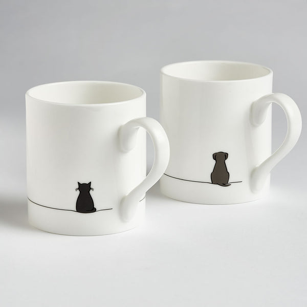 Sitting Cat and Sitting Dog Mug - Set of Two