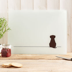Sitting Dog Glass Chopping Board
