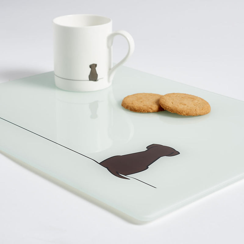 Sitting Dog Worktop Saver with Mug and Biscuits