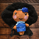 African American Backpack Doll (Blue Dress)