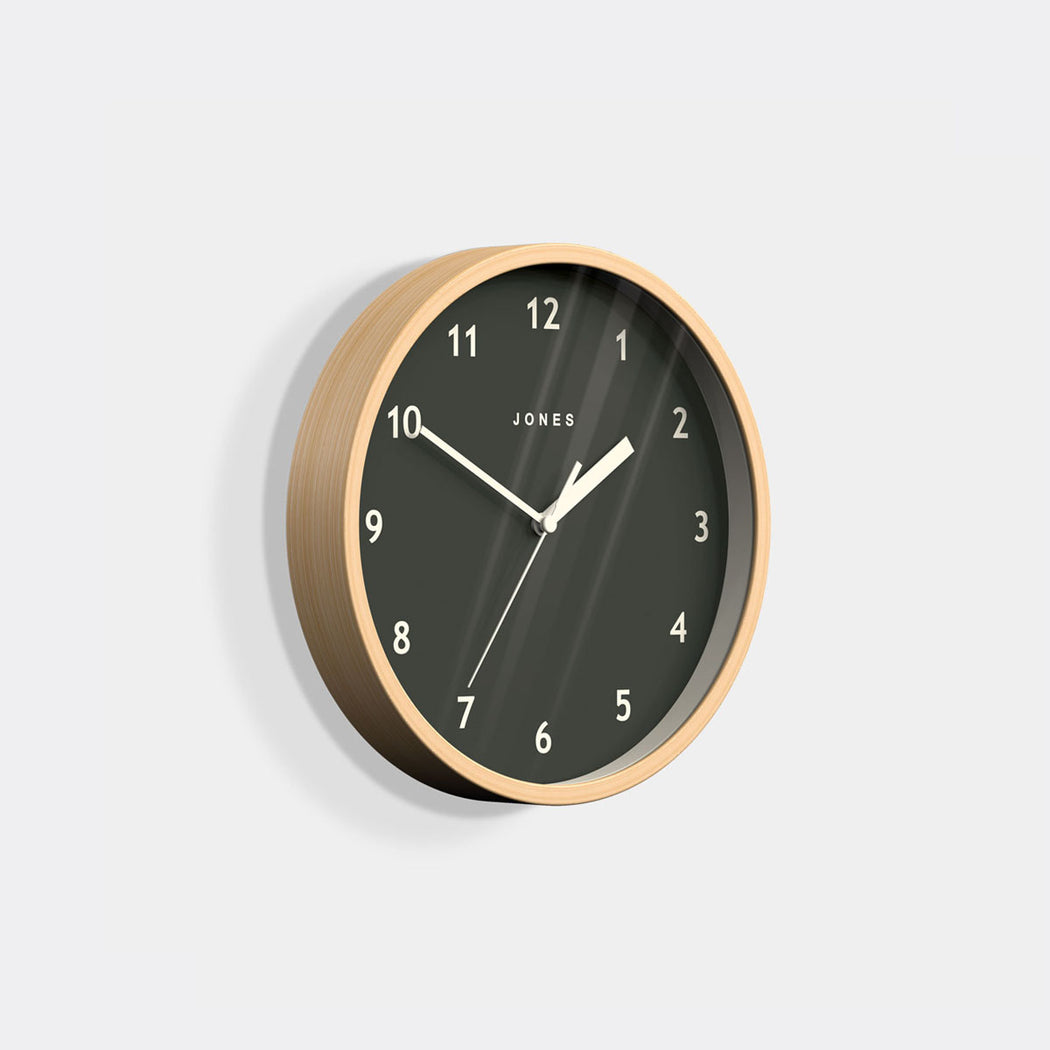 Small Modern Wall Clock | Wood and Grey | Jones Clocks | Spin 630 - skew