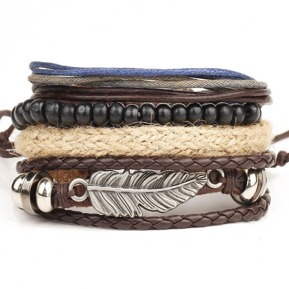 1 Set 4pcs leather multi-layer bead bracelet