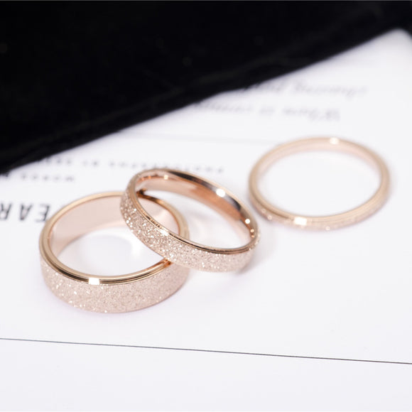 Rose Gold Colour Frosted Finger Rings - Sizes 3-10