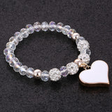 Bracelets with heart pendant and crystal beads