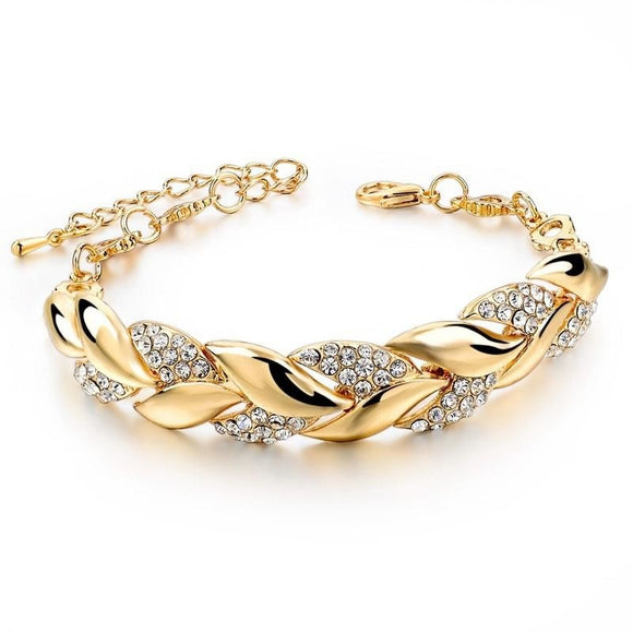 Braided gold colour Leaf and beaded charm bracelets