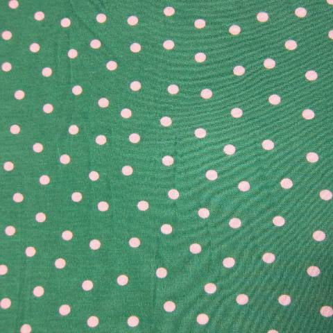 White Dots on Green Cotton Poly Jersey