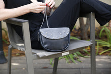 Load image into Gallery viewer, Silver leather & suede top shoulder bag