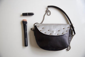 Silver leather shoulder bag