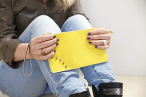 Yellow leather mini clutch
