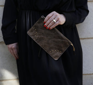 Copper/Bronze leather mini clutch