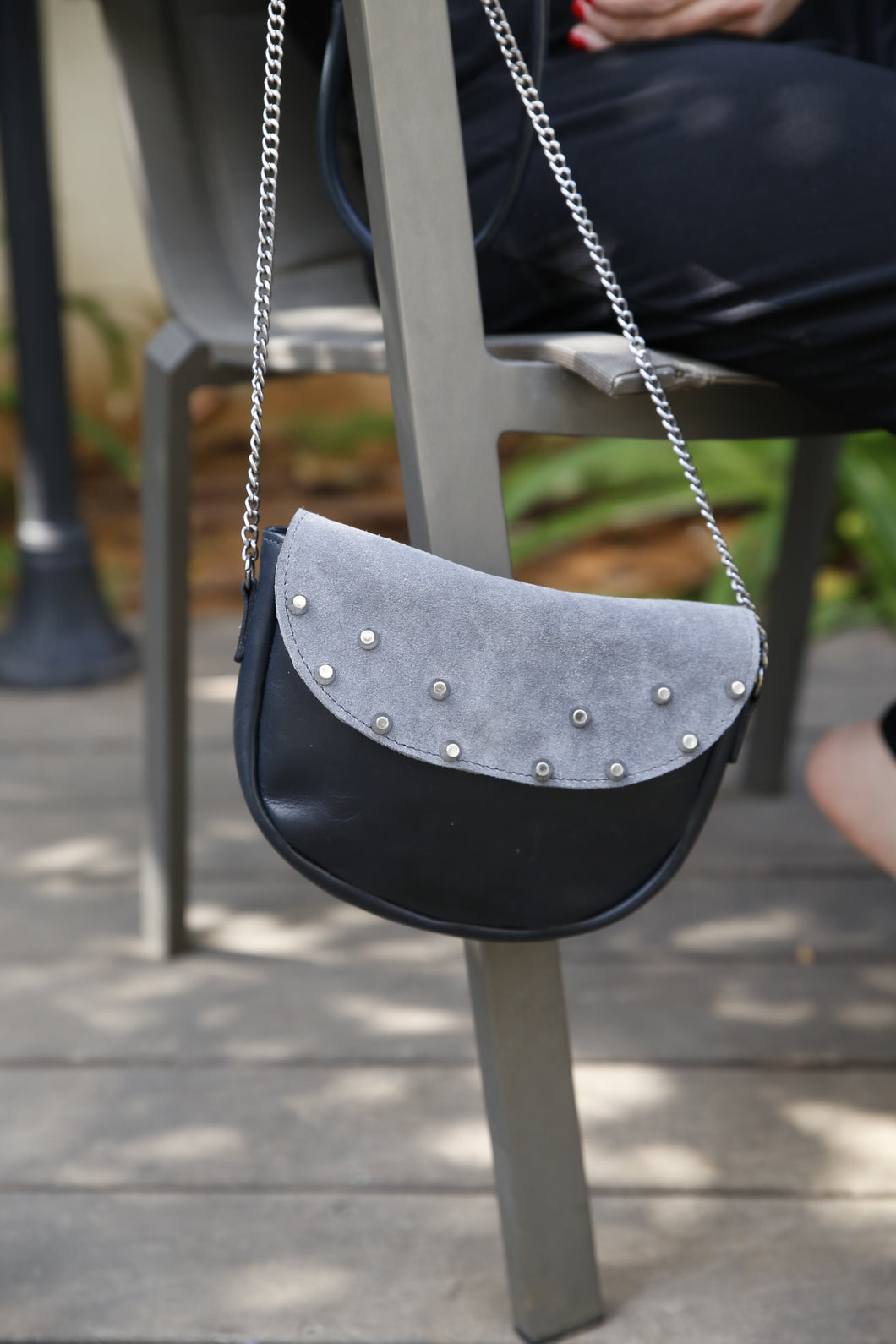 Silver leather & suede top shoulder bag
