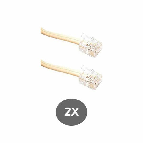 Ivory Telephone Line Cord 1 Foot (30CM) - for RCA, Panasonic, AT&T, VTECH and many more - RJ11 6P4C 2 Pack