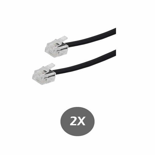 Black Telephone Line Cord 15 Feet (4.57M) - for RCA, Panasonic, AT&T, VTECH and many more - RJ11 6P4C 2 Pack