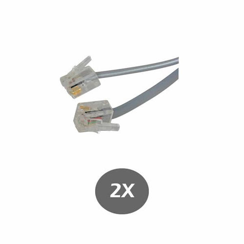 Gray Telephone Line Cord 1 Foot (30CM) - for RCA, Panasonic, AT&T, VTECH and many more - RJ11 6P4C 2 Pack