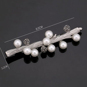 Vintage Faux Pearl and Rhinestone Brooches in Various Designs