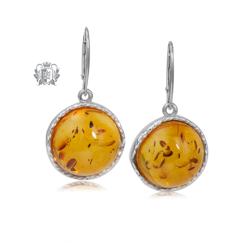 Round Cable Wrapped Amber Dangling Earrings