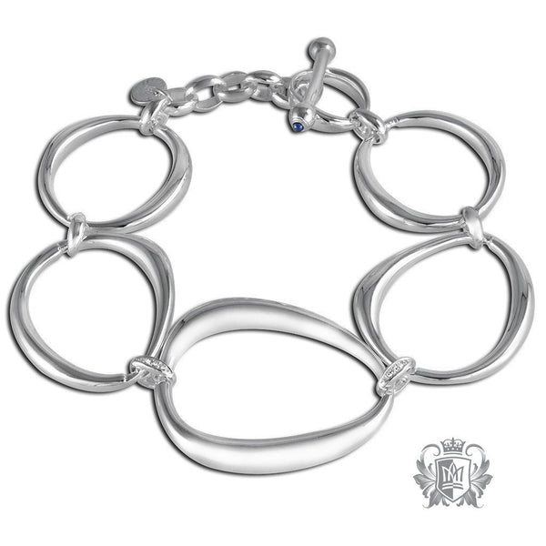 Oval Link Bracelet with Diamond Accents & Sapphire Bullet Toggle Clasp - Metalsmiths Sterling™ Canada