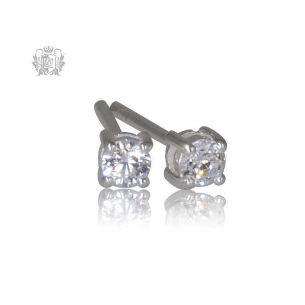 Prong Set Cubic Studs - Small, Sterling Silver
