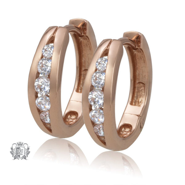 Rose Gold Split Band Cubic Huggies - Metalsmiths Sterling䋢 Canada