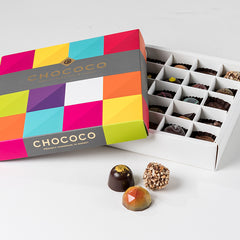 Photograph of a 25-piece Chococo selection available at ChocoCake