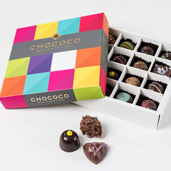 Photograph of a 16-piece Chococo selection available at ChocoCake
