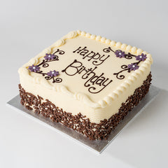 Photograph of a square Vanilla Buttercream Cake available to order at ChocoCake with free personalisation and decoration