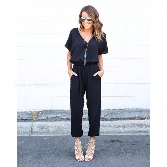 Women's Fashion Sexy V-Neck Strappy Jumpsuit Clothing Clothes