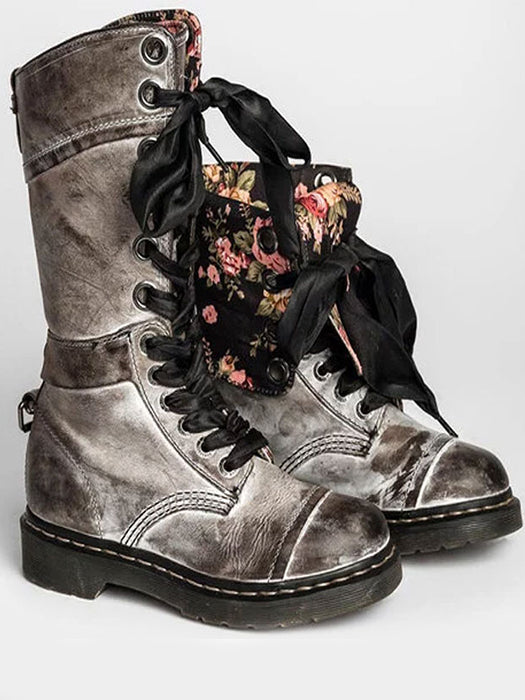 Cool Pu Leather Lace-Up Middle Martin Boots - BelleChloe