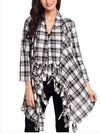 Loose Casual Irregular Tassel Plaid Printed Cardigan Shirt-Cardigans-BelleChloe