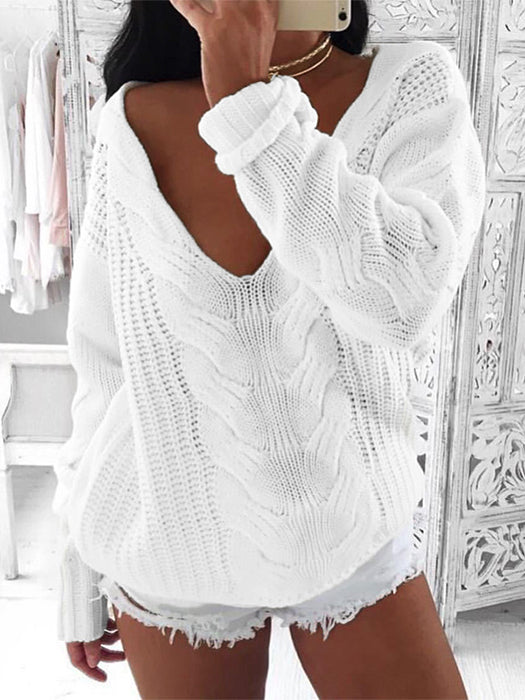 Knit Sexy Long Sleeve Off Shoulder Pullover Sweater-Sweaters-BelleChloe