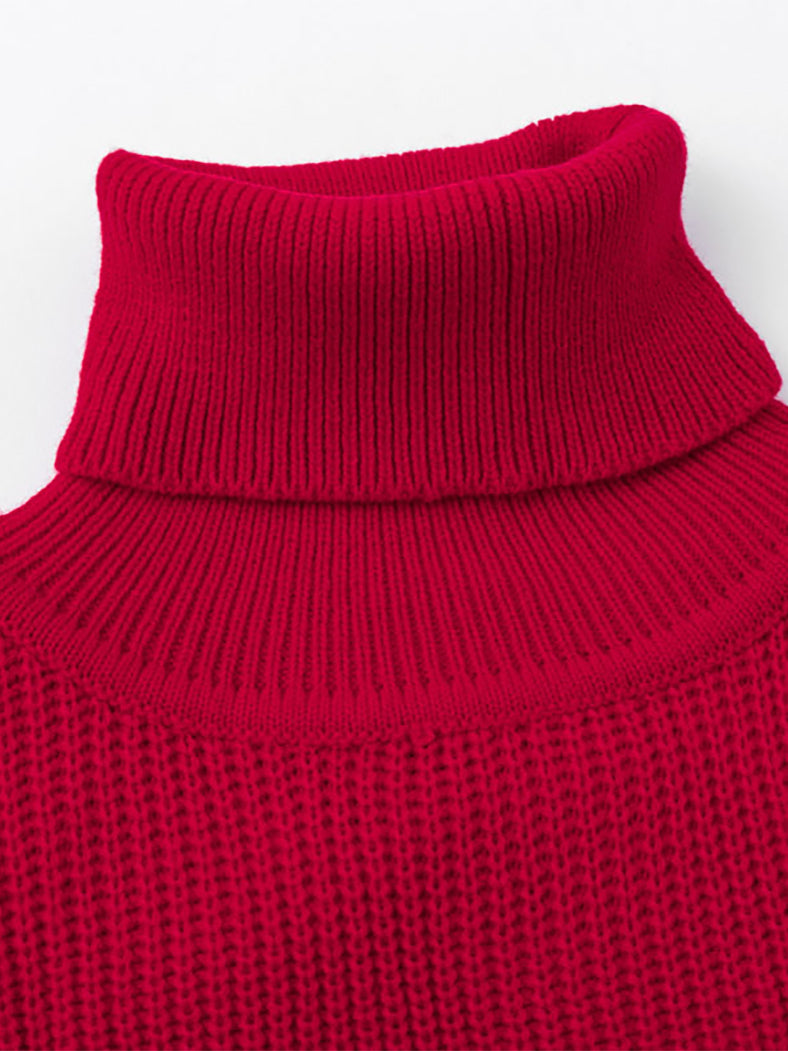 Turtleneck Pullover Knitted Lantern Sleeve Casual Sweater-Sweaters-BelleChloe
