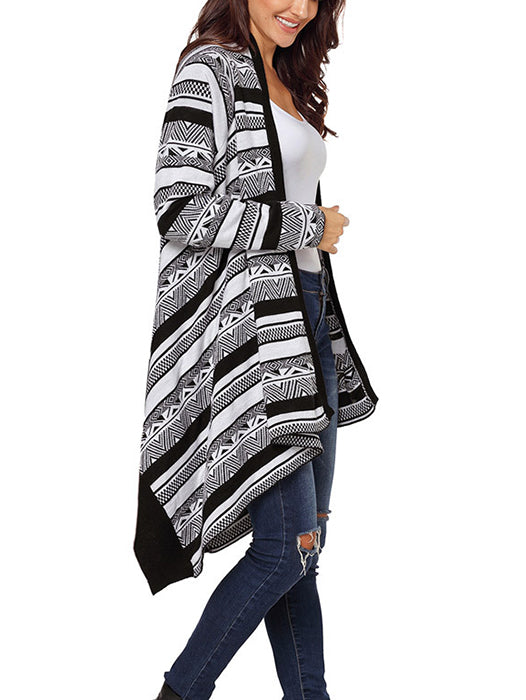 Irregular Geometric Printed Knitted Long Sleeves Cascading Draped Front Open Cardigan-Cardigans-BelleChloe